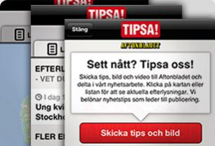 Screenshot from Aftonbladet - New TIPSA-app functionality