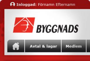 Screenshot from Byggnads - Design of new Intranet